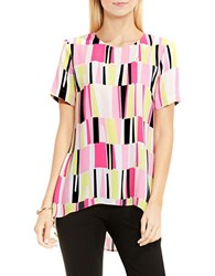 Vince Camuto Charming Graphic High Low Blouse Pink
