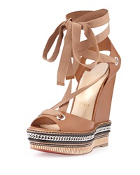 Tribuli Espadrille Red Sole Wedge Sandal Brown Christian Louboutin