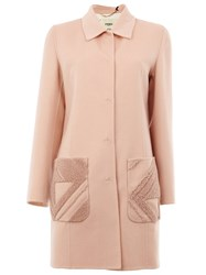 Fendi Lamb Fur Pocket Coat Pink And Purple