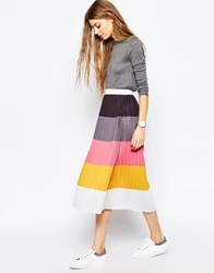 Asos Pleated Midi Skirt In Colour Block Multi
