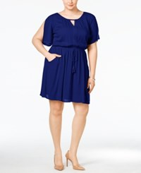 Love Squared Plus Size Lace Drawstring Dress Navy