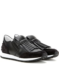 Tod's Sportivo Frangia Leather Sneakers Black