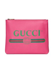 Gucci Print Leather Medium Portfolio Calf Leather Pink Purple