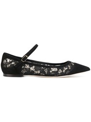 Dolce And Gabbana Pointed Ballerina Shoes Cotton Goat Skin Leather Polyamide Black