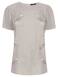 Oasis Floral Embroidered T Shirt Stone