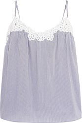 Stella Mccartney Marie Skipping Broderie Anglaise Trimmed Striped Poplin Camisole Light Blue