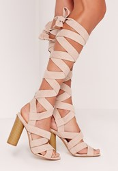 Missguided Strappy Wrap Around Block Heel Sandal Nude Beige