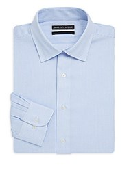 Saks Fifth Avenue Black Pinstripe Slim Fit Cotton Dress Shirt Blue White