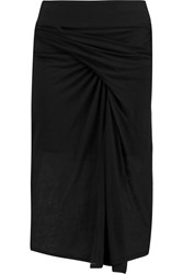 Helmut Lang Gathered Stretch Jersey Midi Skirt Black