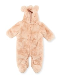 Adrienne Landau Hooded Fur Snowsuit Pink