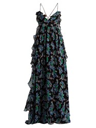 Msgm Floral Print Silk Georgette Maxi Dress Black Multi