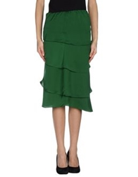 G.Sel Knee Length Skirts Emerald Green