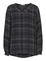 Betty Barclay And Co. V Neck Check Blouse Dark Blue White
