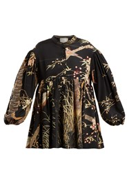 By Walid Theresa Cherry Blossom Print Silk Top Black Print