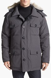 Men's Canada Goose 'Banff' Slim Fit Parka With Genuine Coyote Fur Trim Graphite Grey