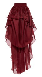 Antonio Berardi Custom Tiered Ruffle Maxi Skirt Floor Length Burgundy