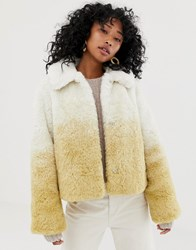 Weekday Shortfaux Fur Jacket In Gradient Beige Beige Gradient