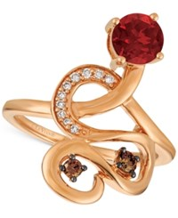 Le Vian Chocolatier Raspberry Rhodolite 9 10 Ct. T.W. And Diamond 1 6 Ct. T.W. Ring In 14K Rose Gold Red