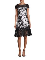 Kay Unger Floral Jacquard A Line Dress Black White
