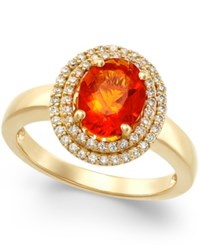 Macy's Fire Opal 1 1 10 Ct. T.W. And Diamond 1 3 Ct. T.W. Ring In 18K Gold Yellow Gold