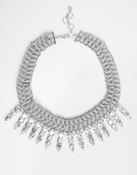 Pieces Statement Costume Necklace Silverf