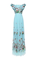 Andrew Gn Cap Sleeve Floral Gown Blue