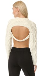 Dkny Cropped Pullover With Open Back Chalk