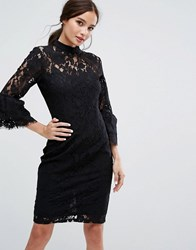 Paper Dolls High Neck Midi Lace Dress With Double Frill Sleeve Black