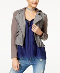 American Rag Juniors' Hooded Contrast And Faux Leather Moto Jacket Created For Macy's Gray