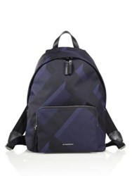 Burberry Leather Trimmed Printed Backpack Navy