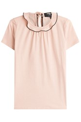Paule Ka Cotton Jersey Top With Ruffled Collar Rose