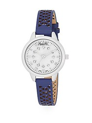 Nanette Nanette Lepore Stainless Steel Pave Crystal Mother Of Pearl And Laser Cut Faux Leather Watch Blue