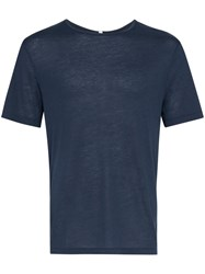Lot 78 Lot78 Navy Short Sleeve Cashmere Blend T Shirt Blue