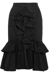 Tome Ruffled Cotton Twill Skirt Black