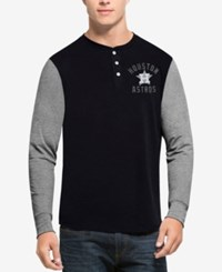 47 Brand '47 Men's Houston Astros Downfield Henley Long Sleeve T Shirt Navy Gray