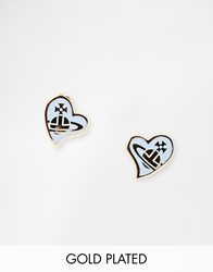 Vivienne Westwood Amphai Heart Stud Earrings Blue