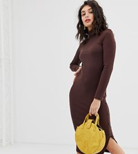River Island Bodycon Dress With Roll Neck In Chocolate Brown