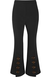 Ellery Fourth Element Button Embellished Crepe De Chine Flared Pants Black