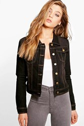 Boohoo Slim Fit Denim Jacket Black