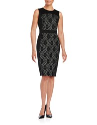 Karl Lagerfeld Lace Accented Sheath Dress Black