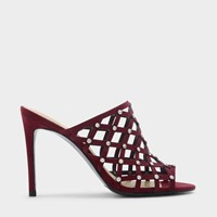 Charles And Keith Embellished Cage Mules Burgun