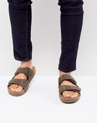 Eastland Caleb Double Strap Suede Sandals In Brown Blue