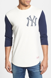Mitchell And Ness 'Mlb Batter Yankees' Cotton Baseball T Shirt Off White