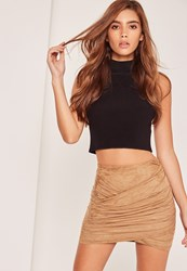Missguided Brown Gathered Faux Suede Wrap Front Mini Skirt