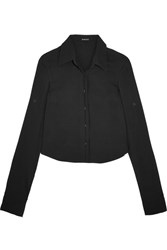 Ann Demeulemeester Cropped Crepe Shirt Black