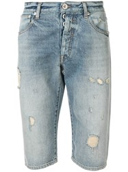 Unravel Project Distressed Denim Shorts Blue