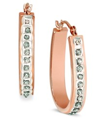 Macy's 14K Rose Yellow Or White Gold Diamond Accent Pear Shaped Hoop Earrings Yellow Gold