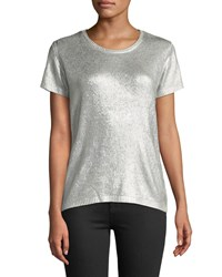 Majestic Silk Short Sleeve Crewneck Metallic Knit Silver