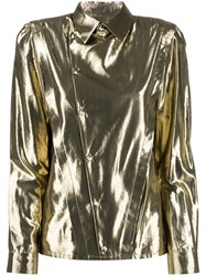 Saint Laurent Asymmetric Metallic Shirt Gold