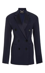 Versace Double Breasted Cady Blazer Navy